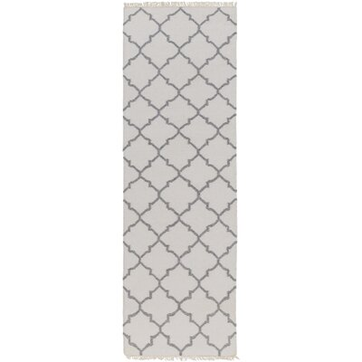 Palladio Hand-Woven White/Charcoal Area Rug Rug size: Runner 26 x 8
