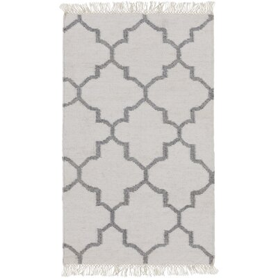 Palladio Hand-Woven White/Charcoal Area Rug Rug size: 8 x 10