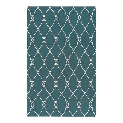 Findley Turquoise/Ivory Area Rug Rug Size: Rectangle 5 x 8