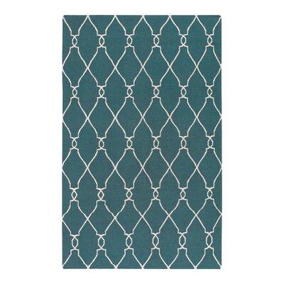 Lennox Turquoise/Ivory Area Rug Rug Size: 5 x 8