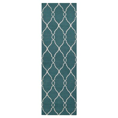Findley Turquoise/Ivory Area Rug Rug Size: Runner 26 x 8