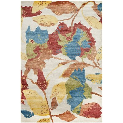 Riverview Hand-Knotted White/Red Area Rug Rug Size: 9 x 12