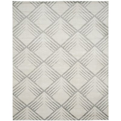 Robert Hand-Knotted Gray Area Rug Rug Size: 9 x 12
