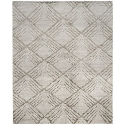 Robertsville Hand-Knotted Gray Area Rug Rug Size: 9 x 12