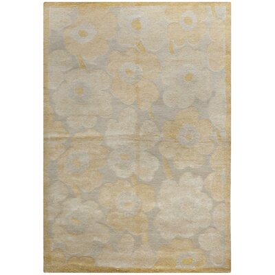 Rockcrest Hand-Knotted Cream/Yellow Area Rug Rug Size: 9 x 12