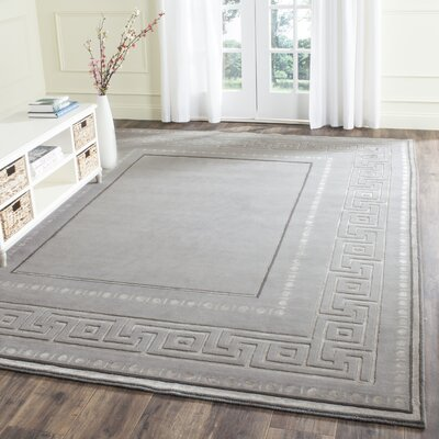 Ahoghill Hand-Knotted Gray Area Rug Rug Size: Rectangle 9 x 12