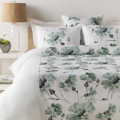 Minerva Duvet Cover Color: White/Charcoal/Light Gray/Dark Green, Size: King