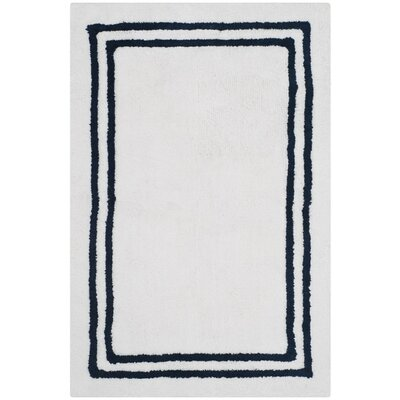 Amalthea Stripes Plush Bath Rug Color: Navy