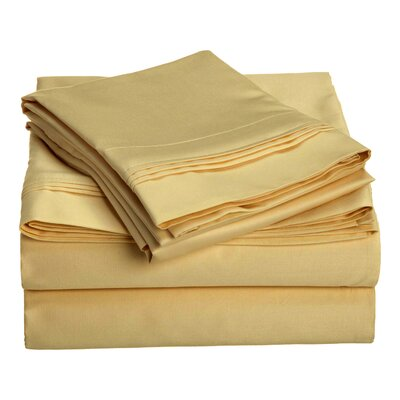 Patric 1500 Thread Count 100% Egyptian-Quality Cotton Sheet Set Size: King, Color: Gold