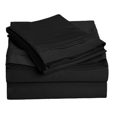 Patric 1500 Thread Count 100% Egyptian-Quality Cotton Sheet Set Size: Full, Color: Black