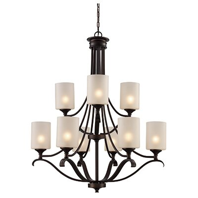 Clarion 9-Light Shaded Chandelier Finish: Rubbed Oil Bronze