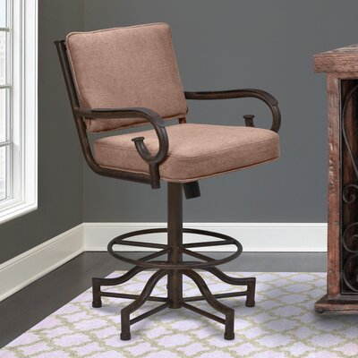 Pettisville 30 inch Swivel Bar Stool with Cushion Upholstery: Brown Fabric