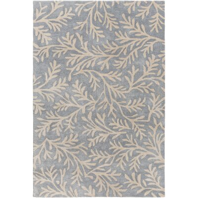 Grant Hand-Tufted Denim/Cream Area Rug Rug size: Rectangle 5 x 8