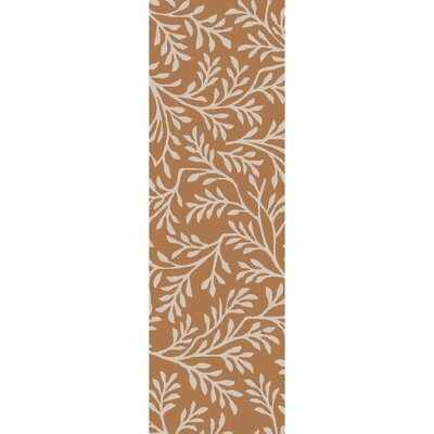 Grant Hand-Tufted Burnt Orange/Beige Area Rug Rug size: 36 x 56