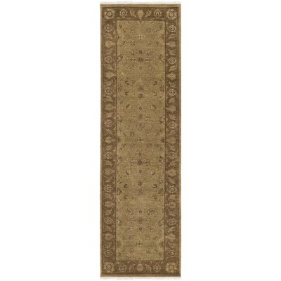 Aubrey Hand-Knotted Brown Area Rug Rug size: 6 x 9