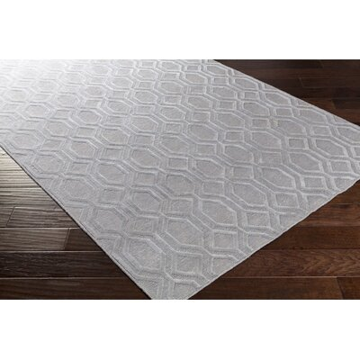 Barrville Hand-Knotted Light Gray Area Rug Rug size: 9 x 13