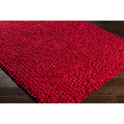 Cosima Hand-Crafted Red Area Rug Rug Size: Rectangle 5 x 76