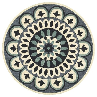 Owensboro Hand-Tufted Navy Area Rug Rug Size: Round 4