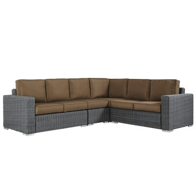 Rathdowney Sectional with Cushions Fabric: Brown, Finish: Mocha