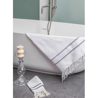 Sumner Stripe Bath Towel Color: White/Black