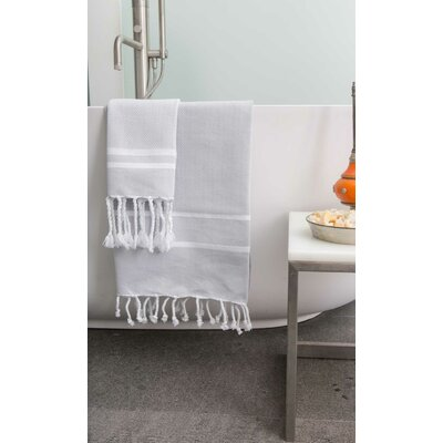 Sumner Stripe Bath Towel Color: Grey/White