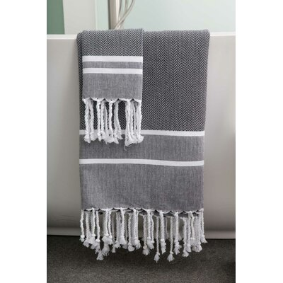 Sumner Stripe Bath Towel Color: Black/White