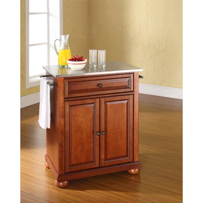 Pottstown Kitchen Cart with Stainless Steel Top Base Finish: Classic Cherry