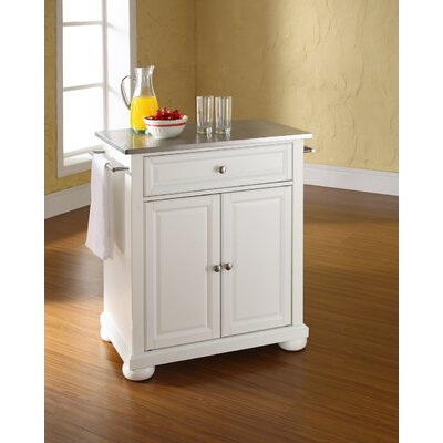 Pottstown Kitchen Cart with Stainless Steel Top Base Finish: White