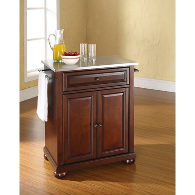 Pottstown Kitchen Cart with Stainless Steel Top Base Finish: Vintage Mahogany