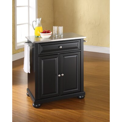 Pottstown Kitchen Cart with Stainless Steel Top Base Finish: Black
