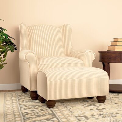 Brougham Wingback Chair and Ottoman Finish: Sea Mocha