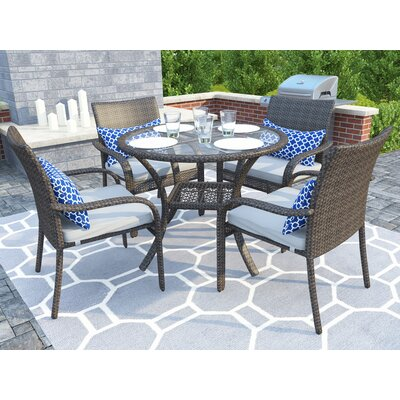 Darden 5 Piece Dining Set with Cushions Finish: Gray