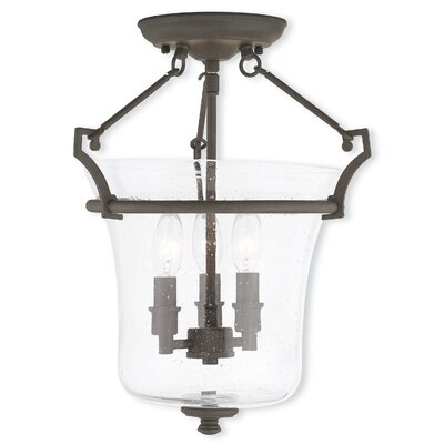 Richard 3-Light Semi-Flush Mount Finish: Brushed Nickel