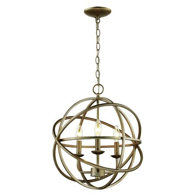 Baitz 3-Light Globe Pendant Finish: Antique Silver Leaf