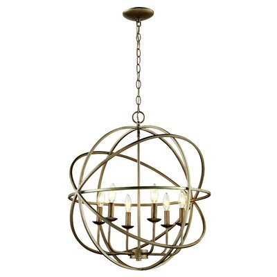 Baitz 6-Light Globe Pendant Finish: Antique Silver Leaf