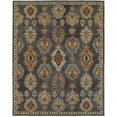 Janel Hand-crafted Gray Area Rug Rug Size: 89 x 119
