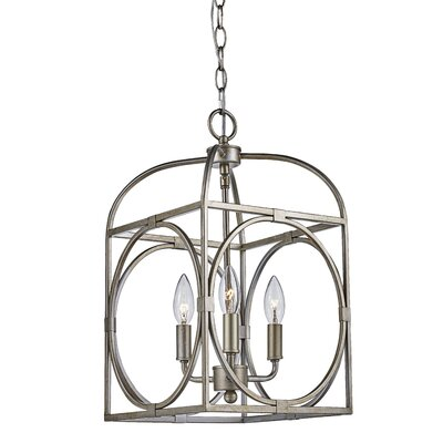 Eunice 3-Light Foyer Pendant Finish: Antique Silver Leaf