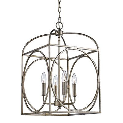 Eunice 4-Light Foyer Pendant Finish: Antique Silver Leaf