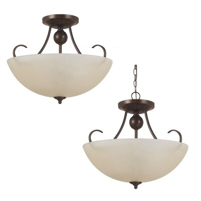 Weatherly 3-Light Semi-Flush Mount Bulb Type: 75 W Line Medium, Finish: Antique Brushed Nickel with White Alabaster Glass