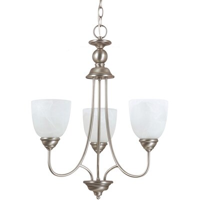 Weatherly 3-Light Shaded Chandelier Finish: Antique Brushed Nickel with White Alabaster Glass, Bulb Type: 100W Line Medium