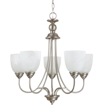 Weatherly 5-Light Shaded Chandelier Finish: Antique Brushed Nickel with White Alabaster Glass, Bulb Type: 100W Line Medium