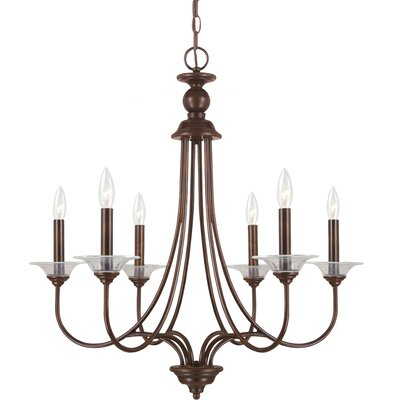 Weatherly 6-Light Candle-Style Chandelier Finish: Burnt Sienna with Clear Glass Bobeches