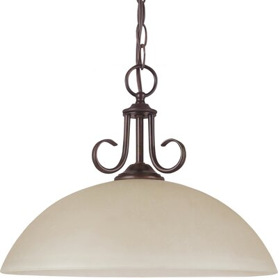 Weatherly 1-Light Down Light Pendant Bulb Type: 50 W Line Medium, Finish: Antique Brushed Nickel with White Alabaster Glass