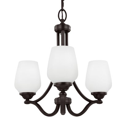 Eyers 3-Light Shaded Chandelier Finish: Satin Nickel, Bulb Type: A19 Medium 75W