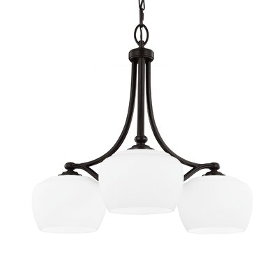Eyers 3-Light Shaded Chandelier Bulb Type: A19 Medium 75W, Finish: Satin Nickel