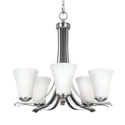 Givan 5-Light Shaded Chandelier Finish: Satin Nickel