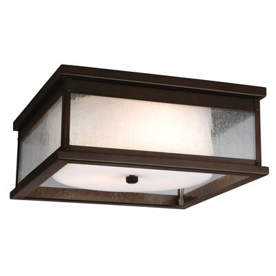 Hazelwood 2-Light Flush Mount Finish: Dark Weathered Zinc