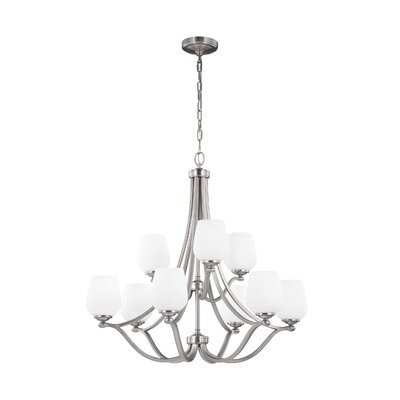 Eyers 9-Light Shaded Chandelier Finish: Satin Nickel