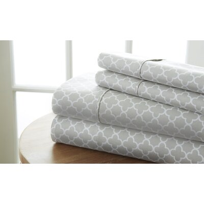 Edinburg Patterned Sheet Set Color: Gray, Size: Queen