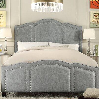 Niagara Queen Upholstered Panel Bed Upholstery: Linen- Gray